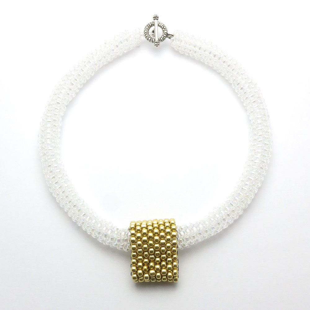 Gold and white glass beaded Marilyn necklace - RetroJade Jewelry