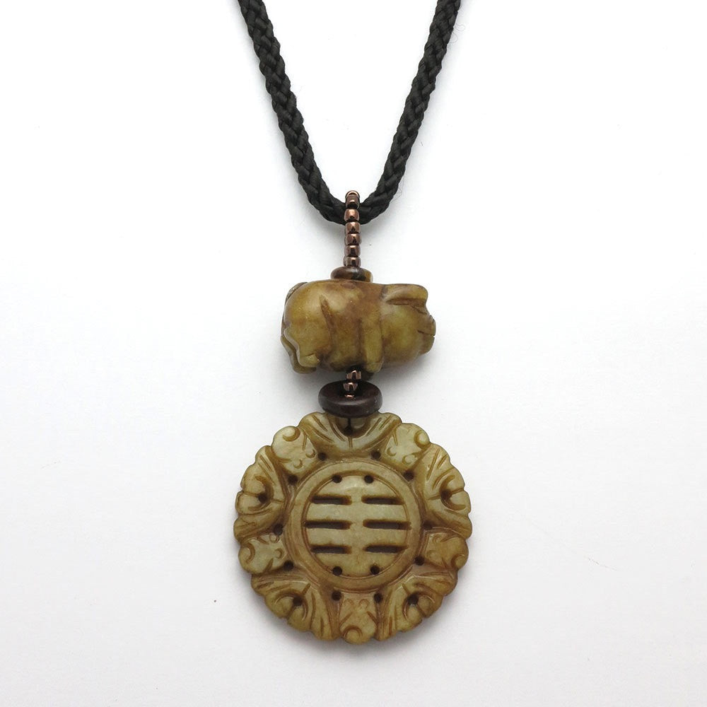 Zodiac Jade Pig Necklace - RetroJade Jewelry
