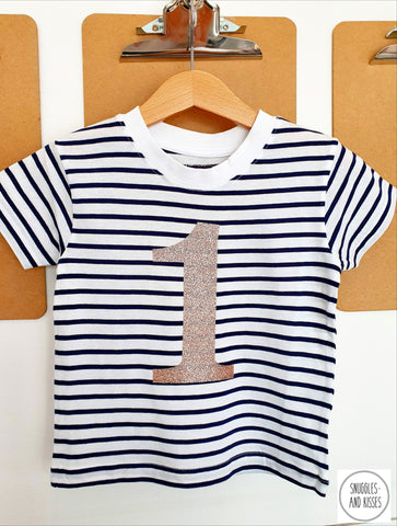 Gold Glitter Number 1 Stripe Birthday Tee - Snuggles and Kisses