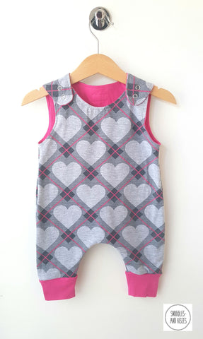 Argyle Heart Print Dungarees - Snuggles and Kisses