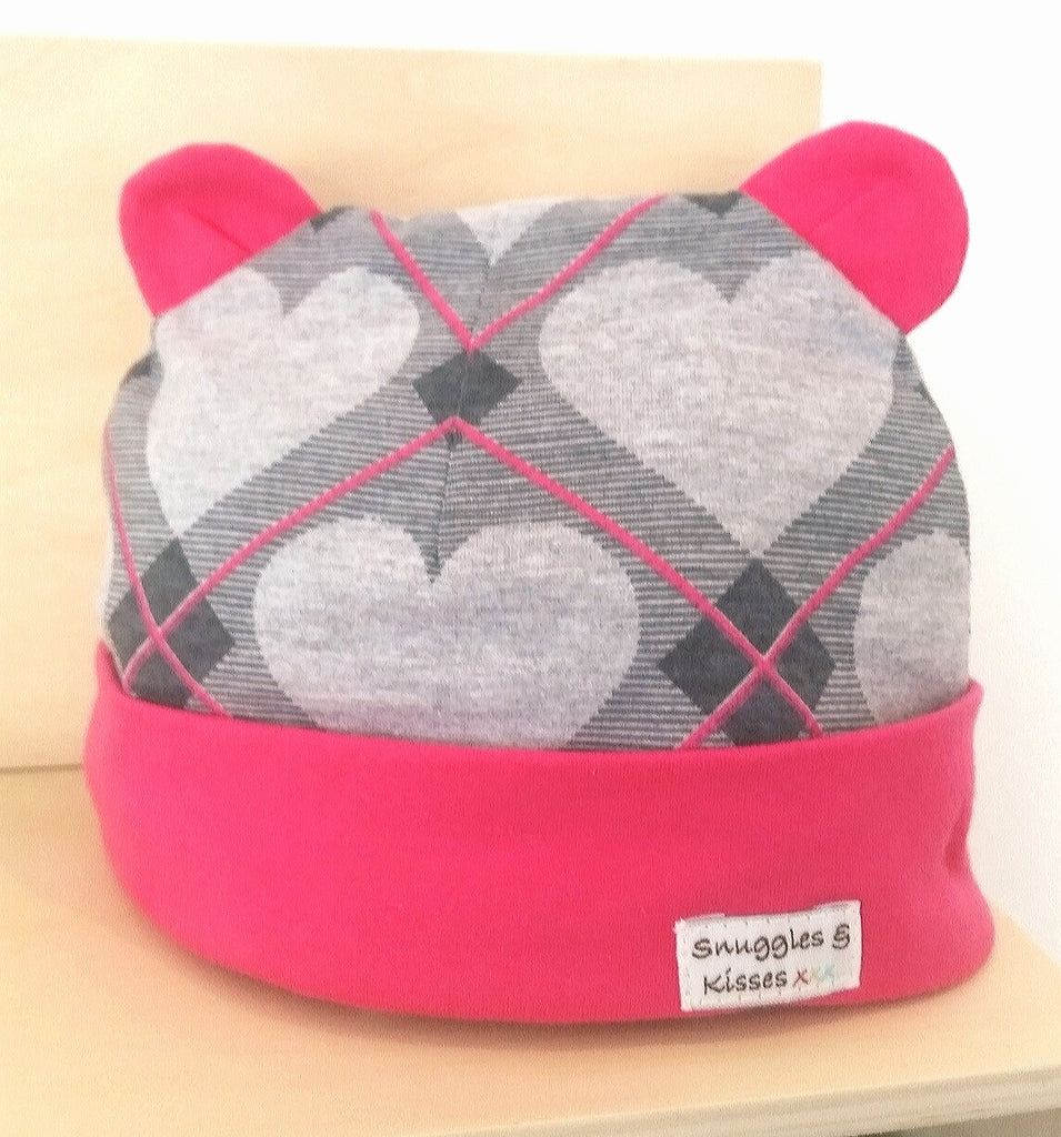 Argyle Heart Print Hat - Snuggles and Kisses