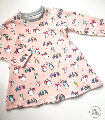 Pink Penguin Print Jersey Dress - Snuggles and Kisses