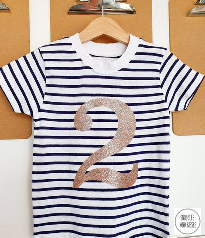 Gold Glitter Number 2 Birthday Tee - Snuggles and Kisses