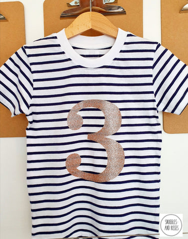 Gold Glitter Number 3 Birthday Tee - Snuggles and Kisses