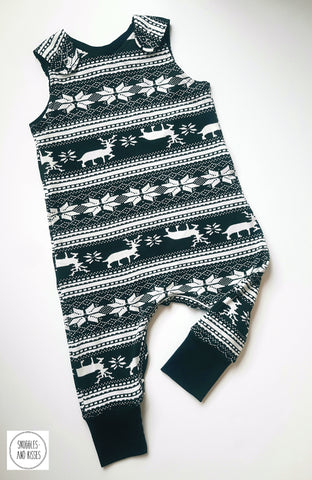 Black & White Stag Print Dungarees - Snuggles and Kisses