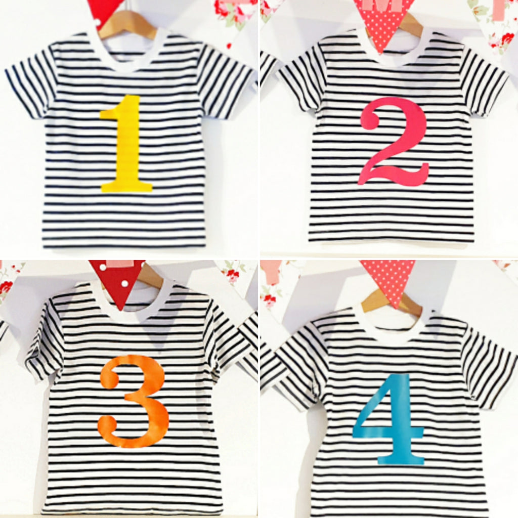 Number 4 Stripe Birthday Tee