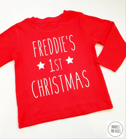 Personalised 1st Christmas Long Sleeve Top - Snuggles and Kisses