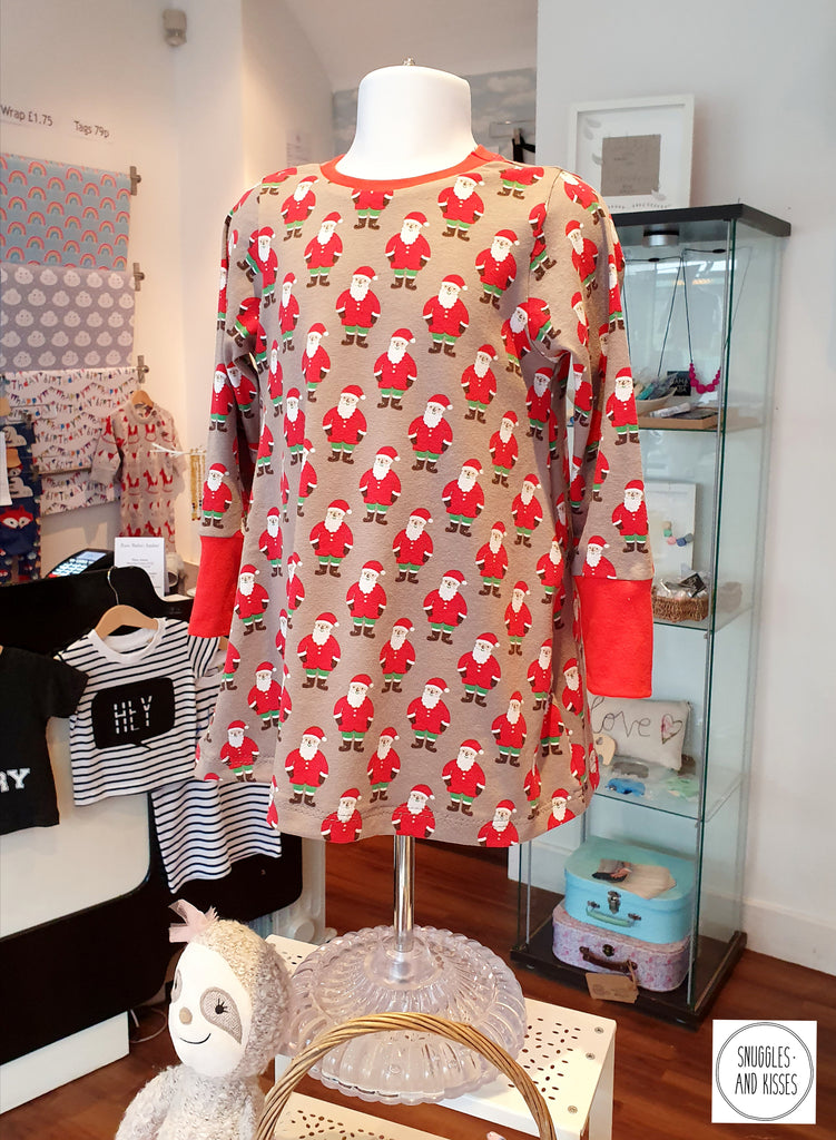 Santa Print Jersey Dress - Snuggles and Kisses