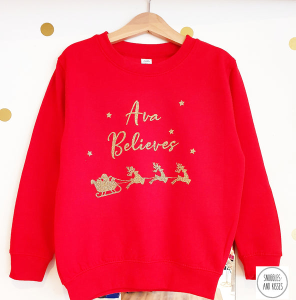 Adults Personalised 'Believes' Christmas Sweatshirt - Snuggles and Kisses