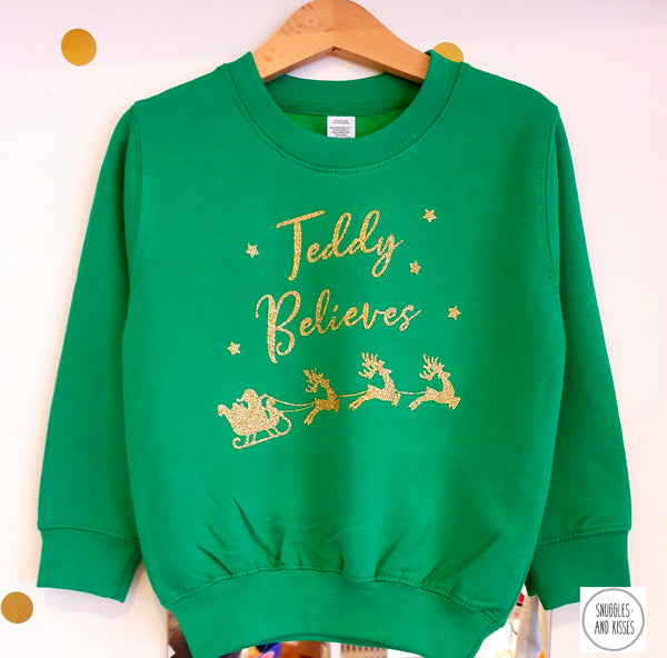 Kids Personalised 'Believes' Christmas Sweatshirt - Snuggles and Kisses