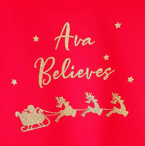 Adults Personalised 'Believes' Christmas Long Sleeve Top - Snuggles and Kisses