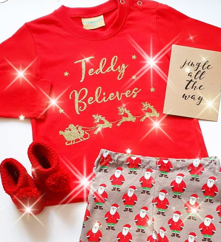 Kids Personalised 'Believes' Christmas Long Sleeve Top - Snuggles and Kisses