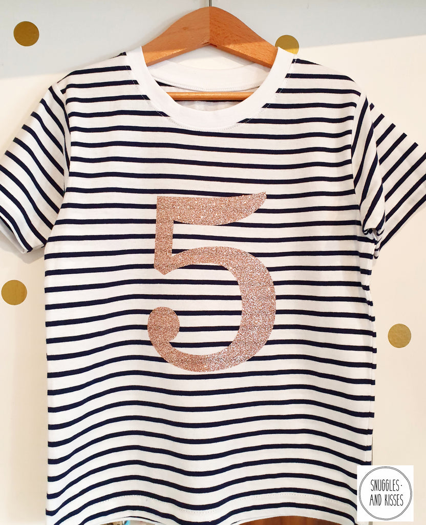 Gold Glitter Number 5 Birthday Tee - Snuggles and Kisses