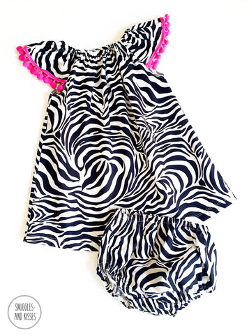 Zebra Print Cotton Dress and Bloomers set - Snuggles and Kisses
