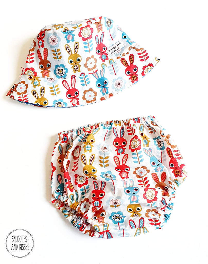 Bunnies Sunhat and Bloomer Set - Snuggles and Kisses