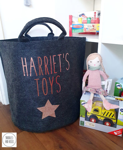Personalised Felt Toy Basket-Charcoal