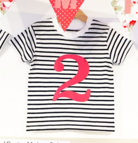 Number 2 Stripe Birthday Tee