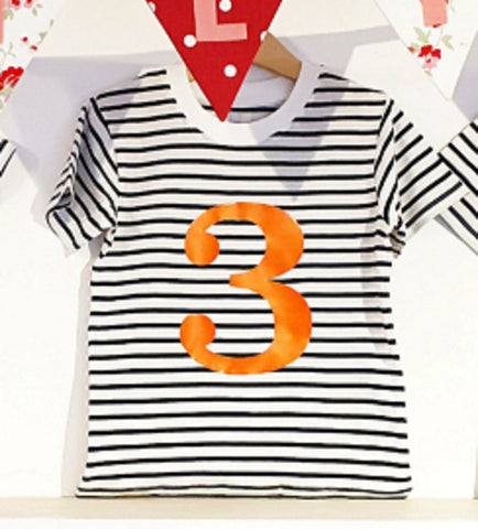 Number 3 Stripe Birthday Tee