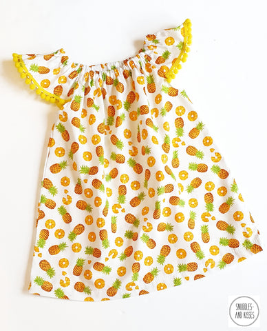 Pineapple Print Cotton Dress with Pom Poms
