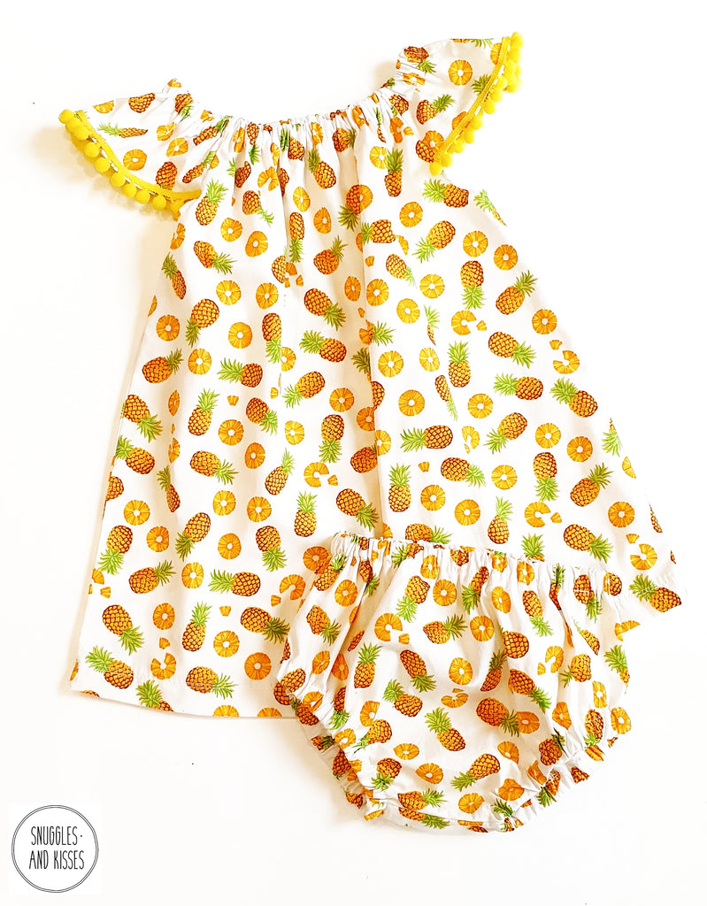 Pineapple Print Cotton Dress and Bloomers set