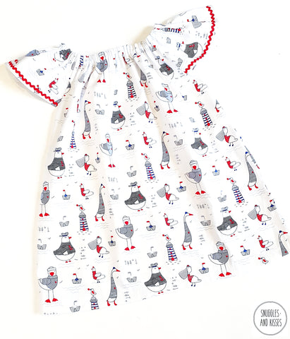 Seagulls Print Cotton Dress