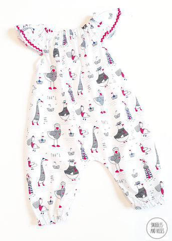 Seagulls Print Summer Playsuit