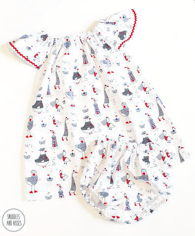 Seagulls Print Cotton Dress and Bloomers set