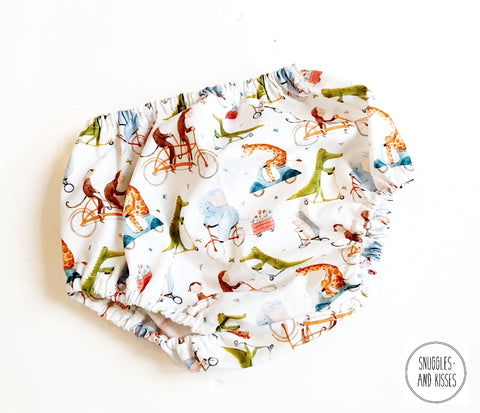 'Animals on Bikes' Print Cotton Bloomers