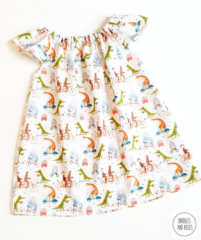 'Animals on Bikes' Print Cotton Dress