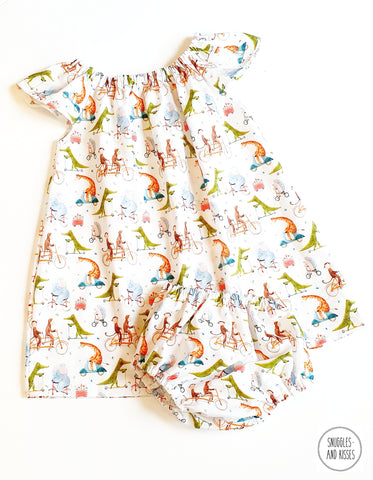 'Animals on Bikes' Print Cotton Dress and Bloomers set