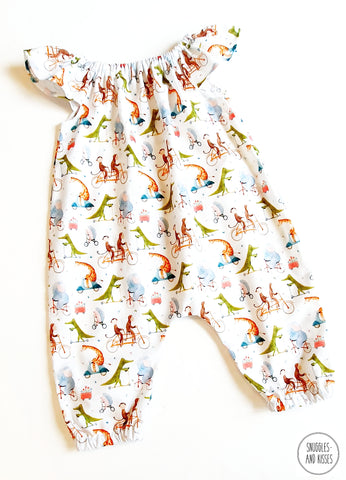 'Animals on Bikes'  Print Summer Playsuit
