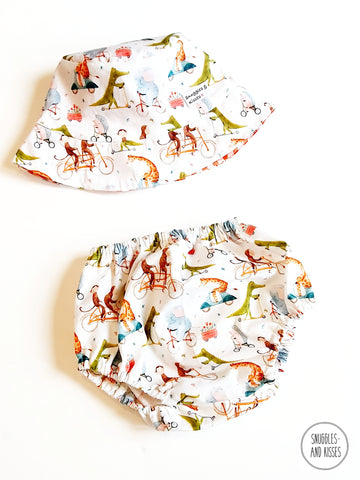 'Animals on Bikes' Print Bucket Style Sunhat and Bloomer Set