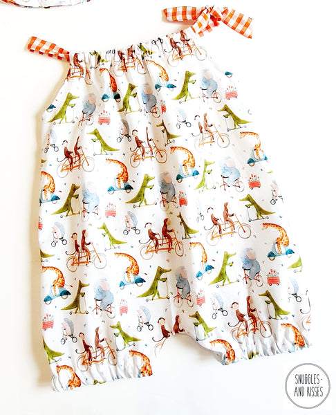 'Animals on Bikes' Print Shorty Playsuit/Romper