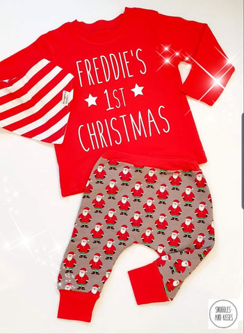 Personalised 1st Christmas Outfit - Snuggles and Kisses