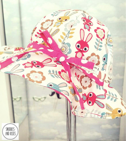 Bunnies Print Reversible Sunhat - Snuggles and Kisses