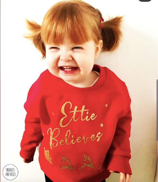 Kids Personalised 'Believes' Christmas Sweatshirt