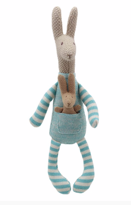 Wilberry Knitted Kangaroo with Baby
