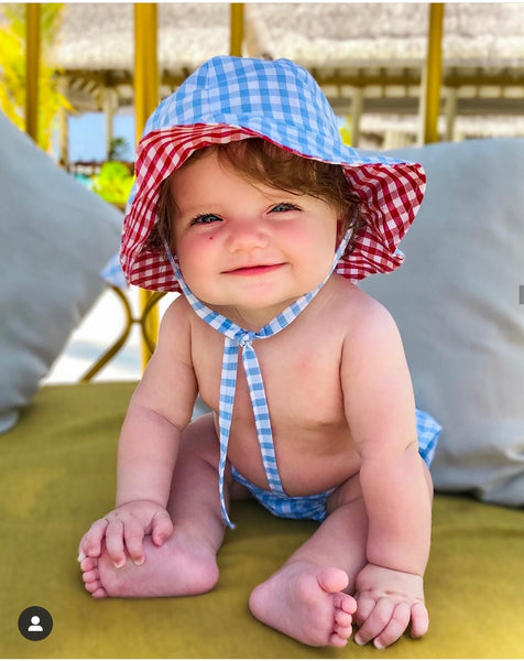 Gingham Sunhat and Bloomer Set - Snuggles and Kisses