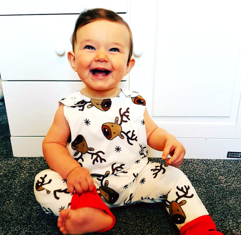 White Reindeer Print Dungarees - Snuggles and Kisses