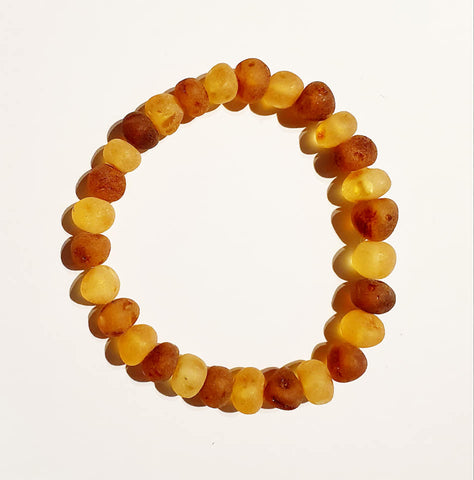 Adult Raw Baltic Amber Bracelet-Honey and Cognac - Snuggles and Kisses