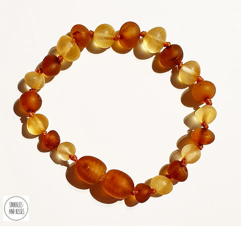 Raw Baltic Amber-Baby/Childrens Teething Bracelet/Anklet in Honey & Cognac