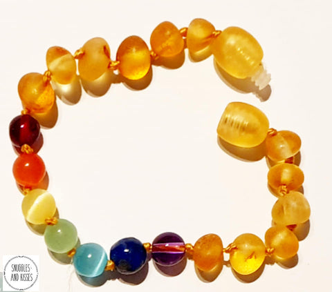 Raw Baltic Amber-Baby/Childrens Rainbow Chakra teething Bracelet - Snuggles and Kisses