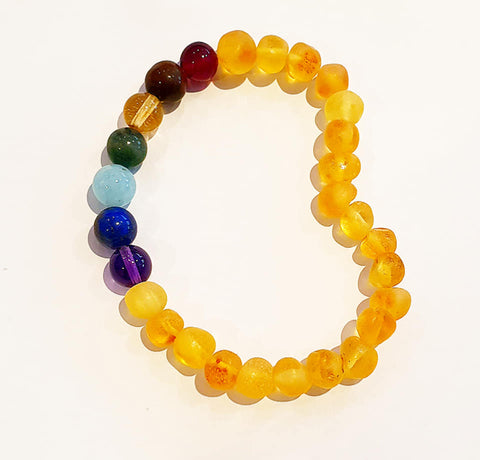 Adult Raw Baltic Amber Bracelet-Rainbow Chakra Beads - Snuggles and Kisses