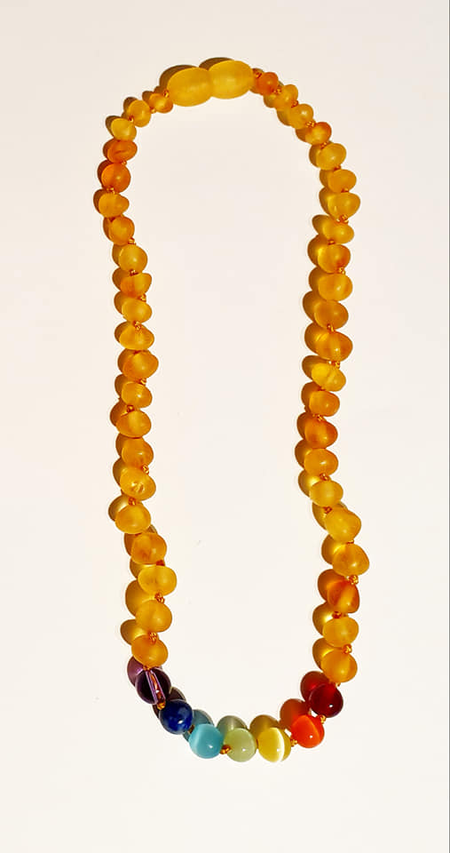 Raw Baltic Amber Baby/Childrens Teething Necklace-with Rainbow Chakra Beads - Snuggles and Kisses