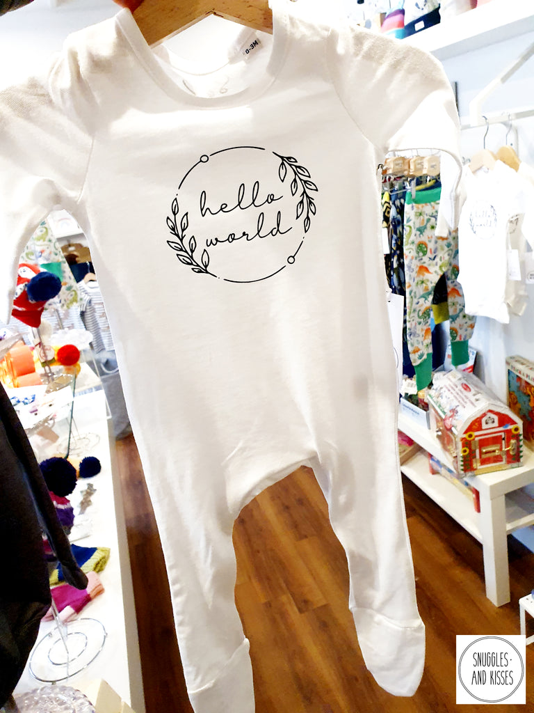 Hello World Organic Romper - Snuggles and Kisses