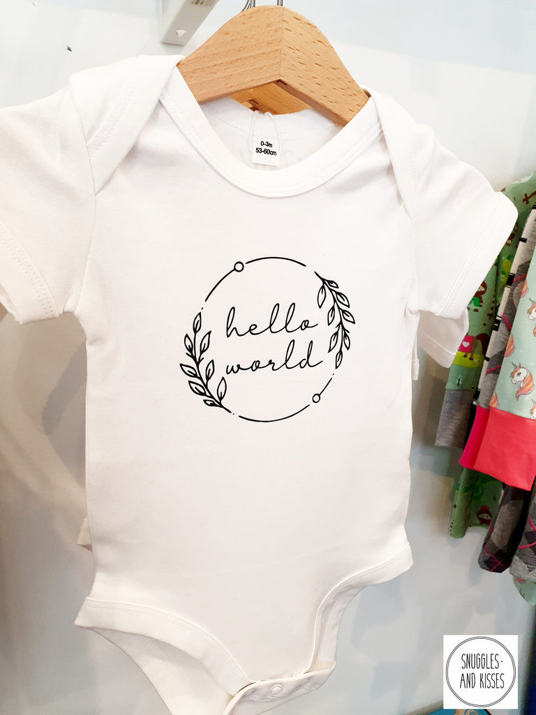 Hello World Organic Baby Vest - Snuggles and Kisses