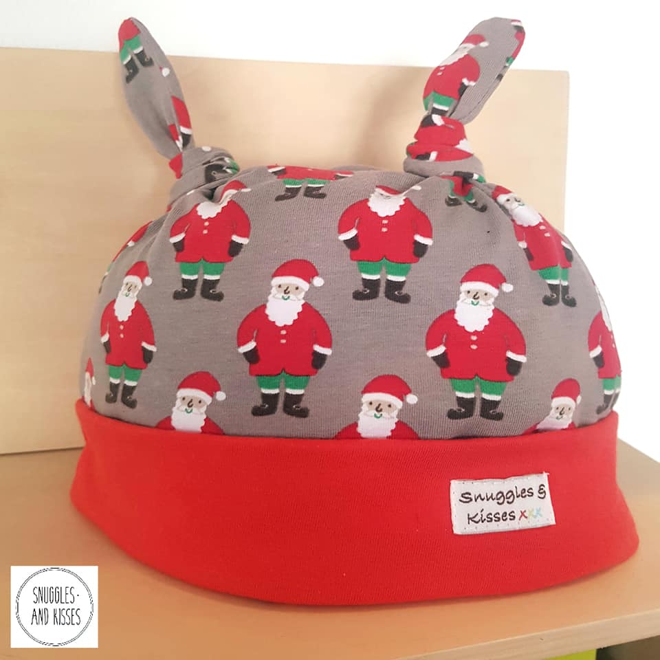 Santa Print Hat - Snuggles and Kisses