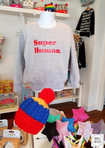 Kids Super Human Sweatshirt - Snuggles and Kisses