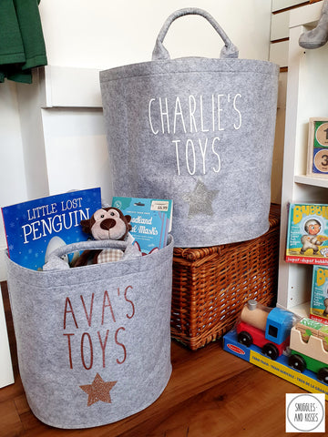 Personalised Felt Toy Basket - Snuggles and Kisses