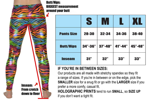 revolver fashion, mens, legging, size chart, made in usa, california, festival clothing.
